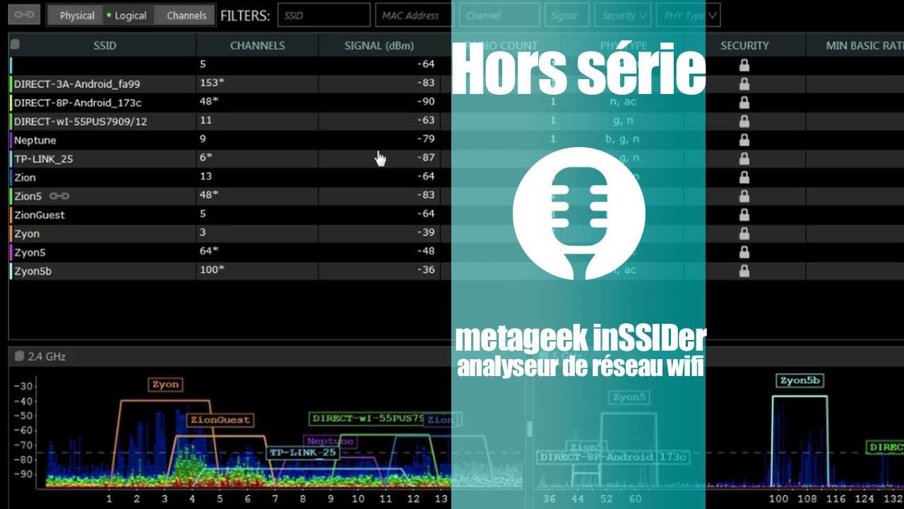 Analyseur WiFi inSSIDer de metageek (présentation)